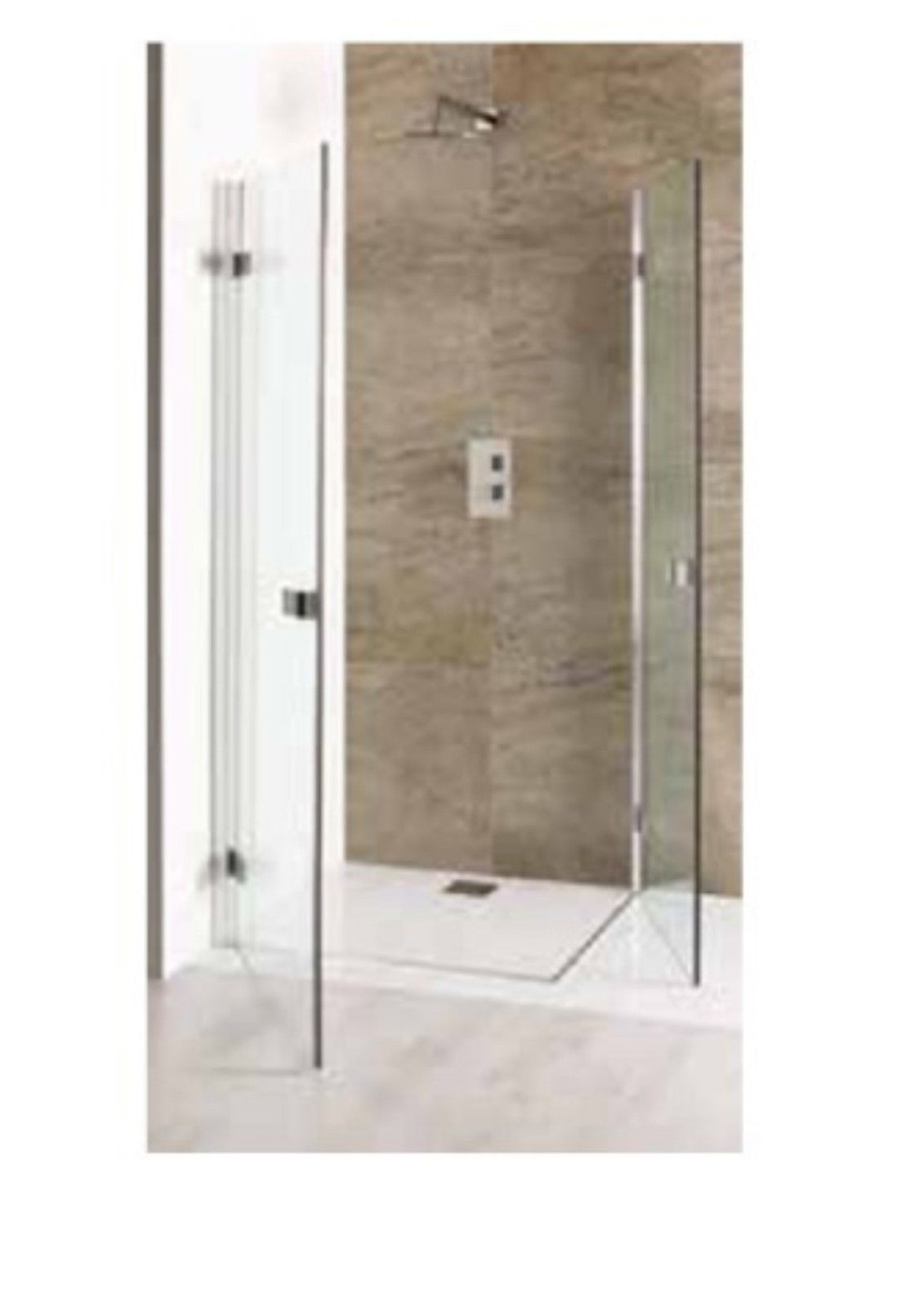 Volente Double Hinge Shower Door Easy Clean Polished Silver Various Sizes